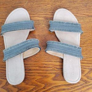 Sandals LC Lauren Conrad Slide Flat Medium Gray